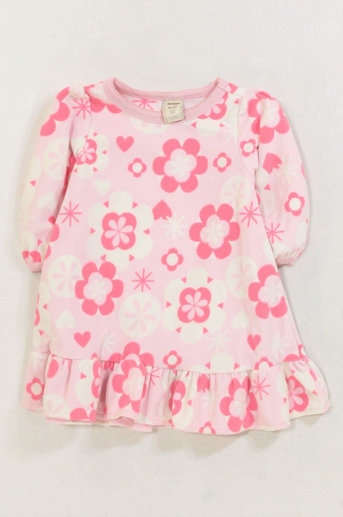 Old Navy Pink Fleece Flower Peplum Dress Girls 6-12 months