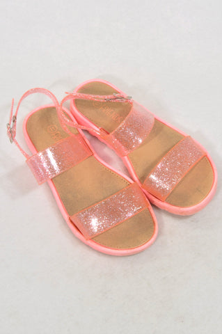Friends Inc. Size 11 Lumo Orange Glitter Strap Sandals Girls 4-6 years