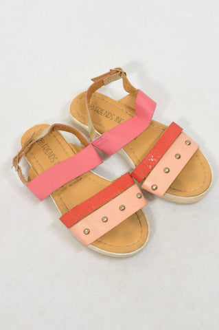Friends Inc. Size 12 Pink & Gold Strappy Platform Sandals Girls 4-6 years
