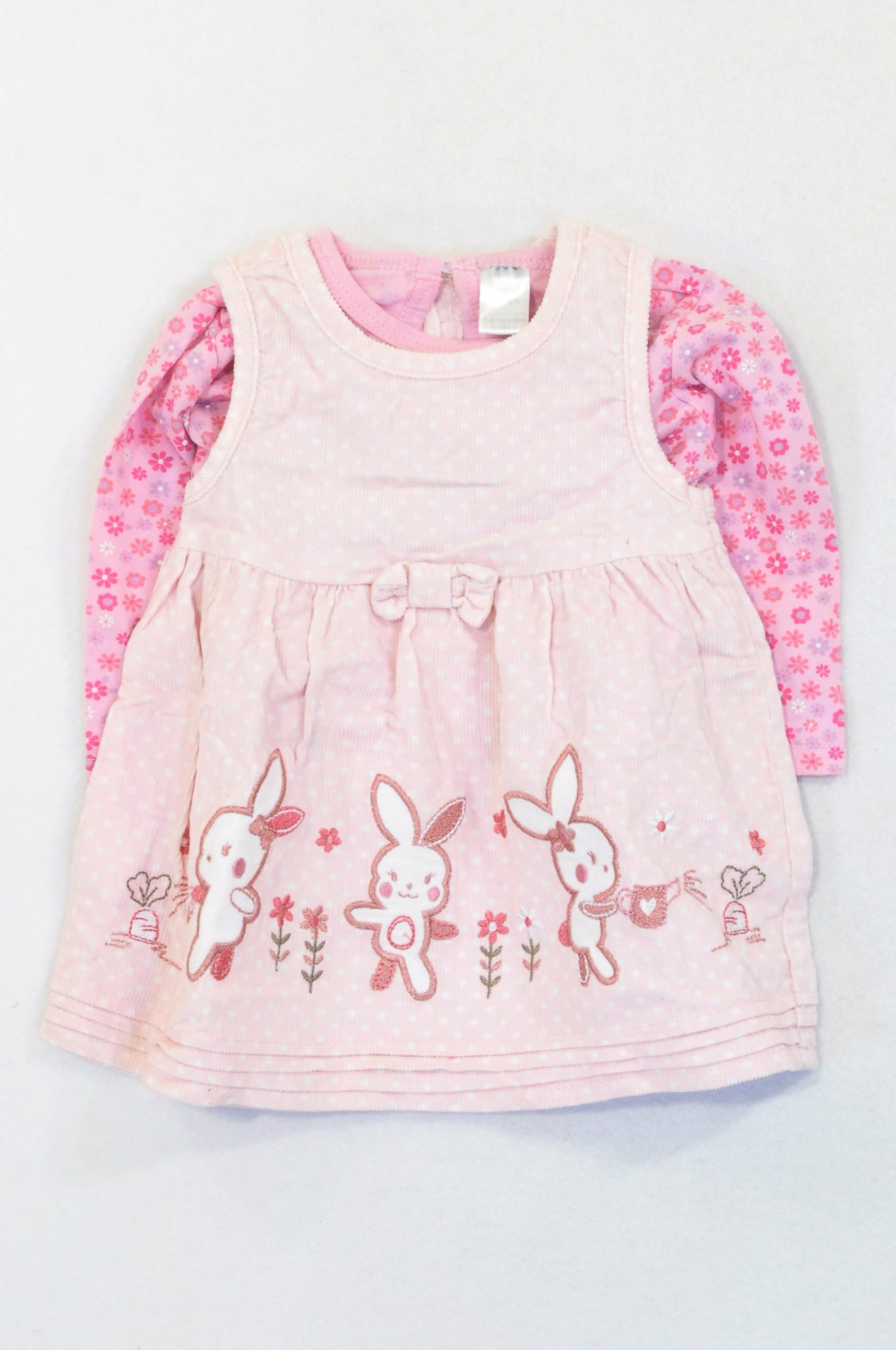 Ackermans Pink Corduroy Dotty Embroidered Bunnies Dress & Floral Print T-shirt Outfit Girls 3-6 months