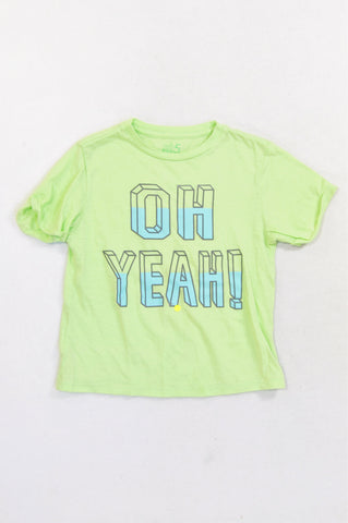 Woolworths Soft Green Oh Yeah T-shirt Unisex 4-5 years