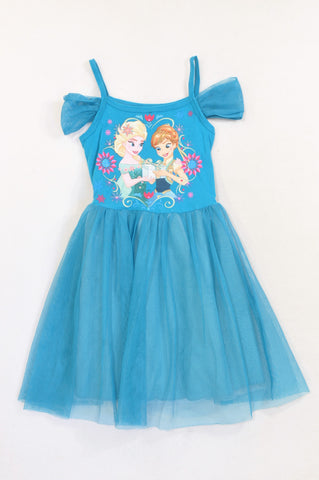 Jet Teal Frozen Tulle Detail Dress Girls 5-6 years