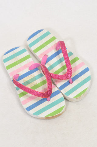 Pick 'n Pay Size 10/11 Pink Glitter Strap Striped Flip Flops Girls 4-5 years