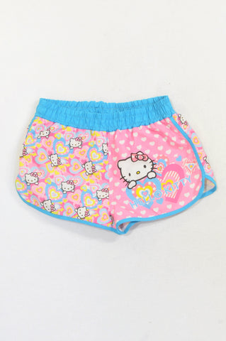 Hello Kitty Pink Hearts Swim Shorts Girls 5-6 years
