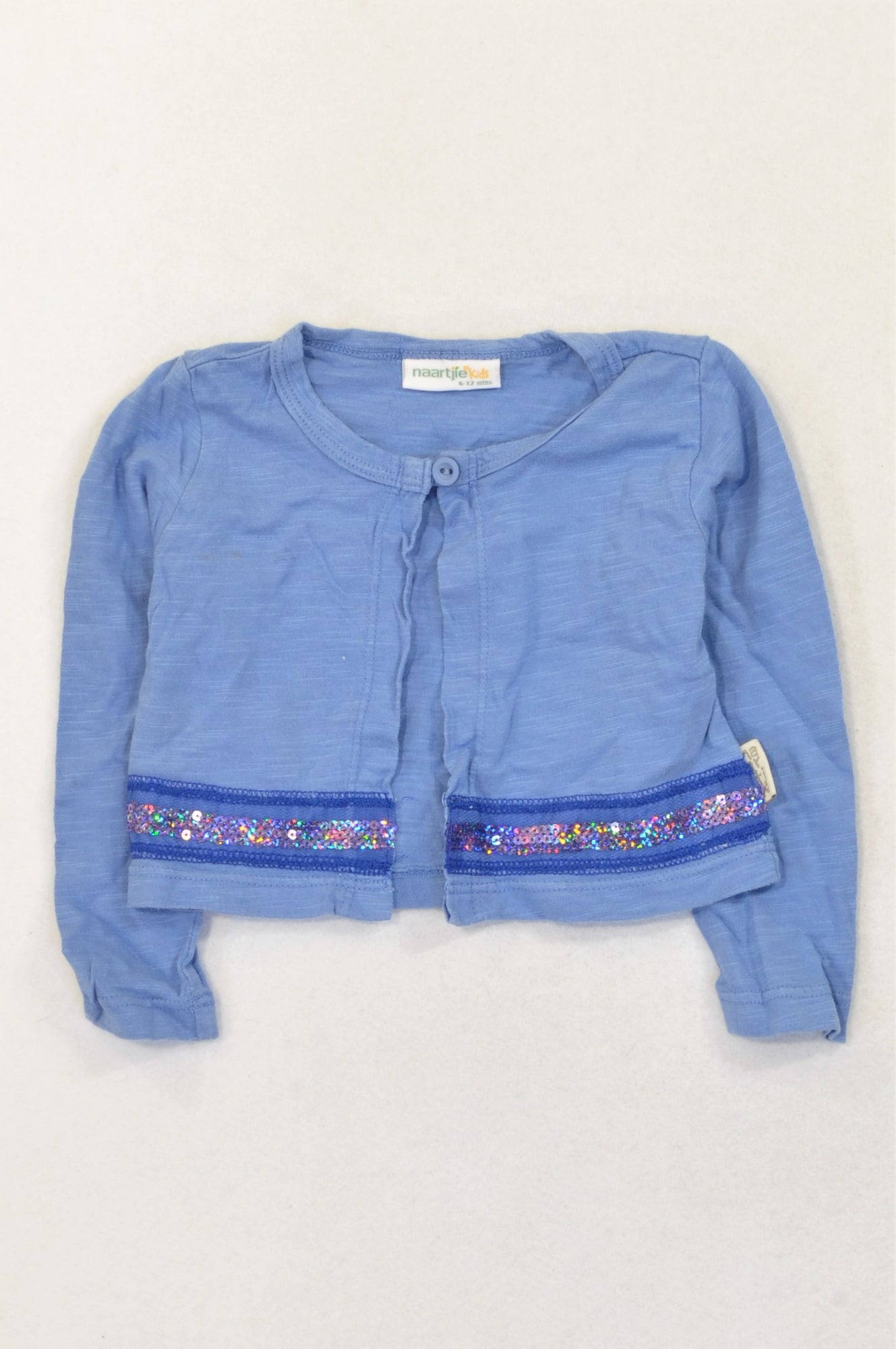 Naartjie Dusty Blue Sequin Band Button Lightweight Cardigan Girls 6-12 months