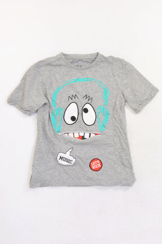 Woolworths Grey Music Zipper Mouth T-shirt Boys 6-7 years
