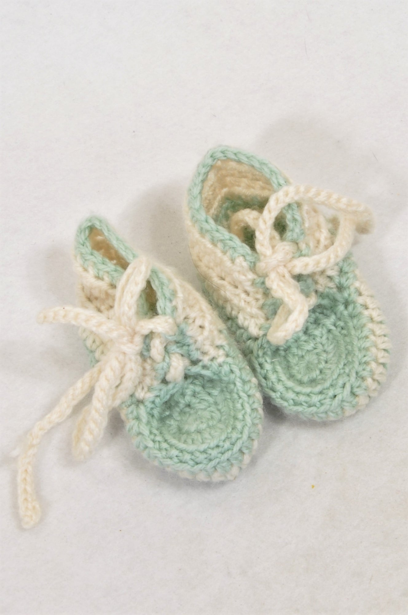 Unbranded Size 1 Duck Egg & Cream Knit Booties Unisex 3-6 months