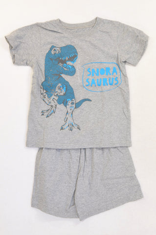 Woolworths Grey Snora Saurus Summer Pyjamas Boys 6-7 years