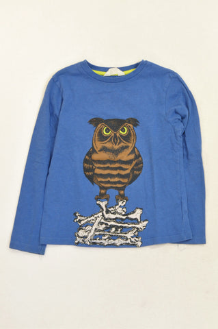 H&M Dark Blue Brown Owl T-shirt Boys 6-8 years