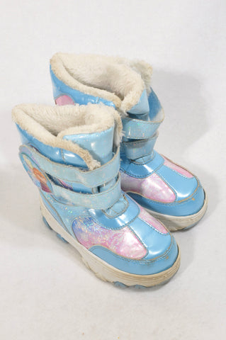 Disney Size 8.5 Ice Blue Frozen Snow Boots Girls 2-4 years