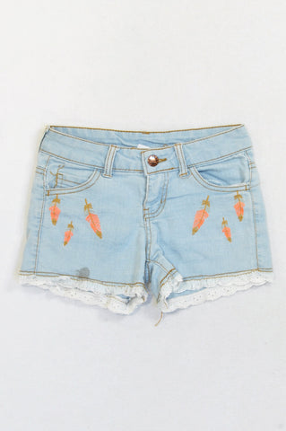 Pink Angel Light Denim Feather Embroidered Shorts Girls 9-10 years
