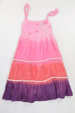 Fresh Produce Pink & Purple Glitter Stripe Dress Girls 13-14 years