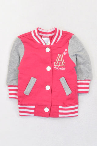 Edgars Cerise & Grey Adorable Varsity Snap Jacket Girls 0-3 months