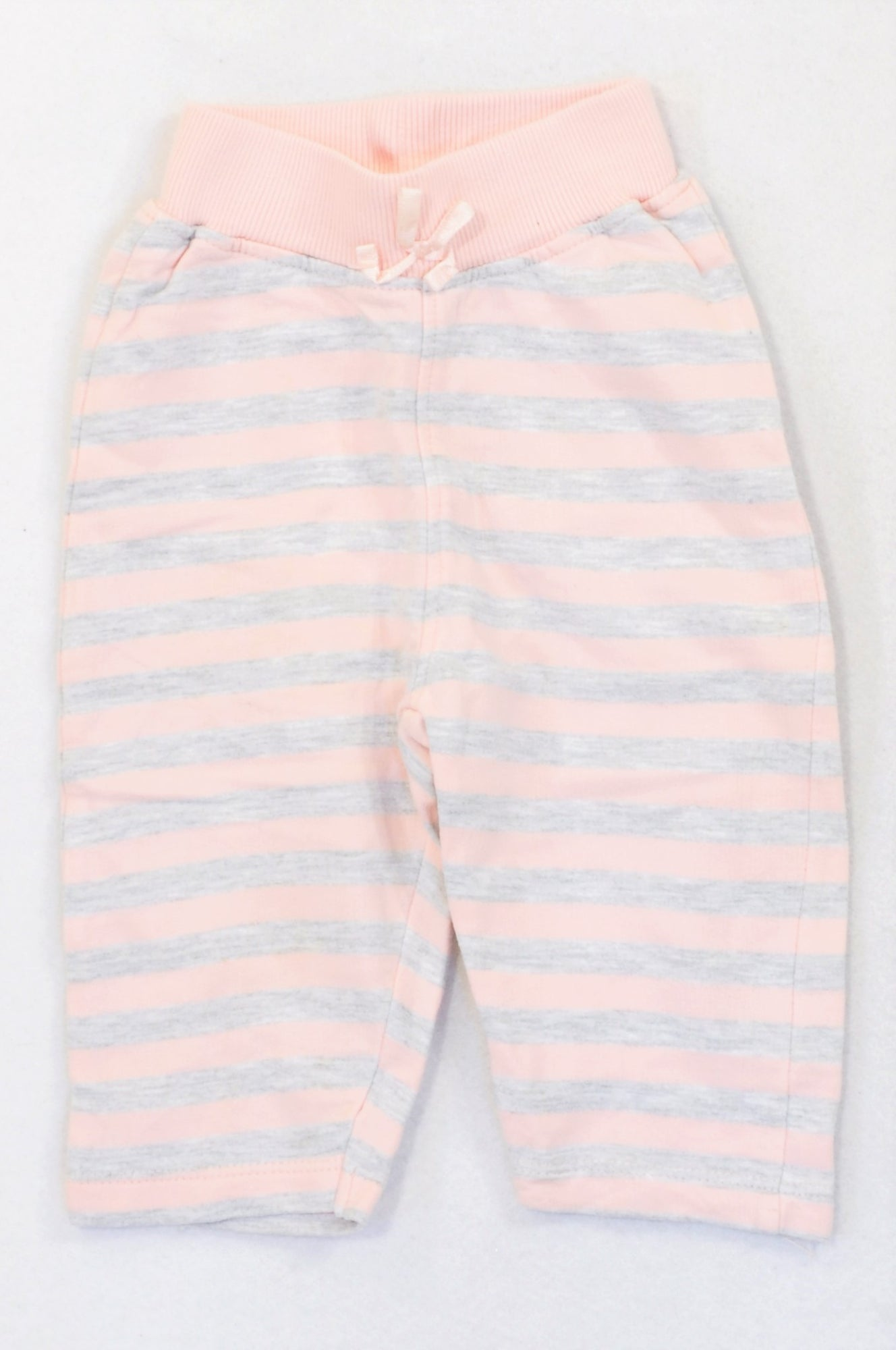 ZY Baby Pink & Heathered Grey Stripe Track Pants Girls 3-6 months