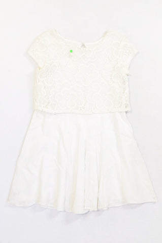 Woolworths White Lightweight Lace Overlay Bodice Dress Girls 5-6 years
