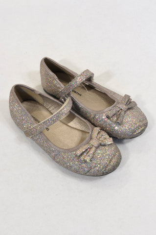 Woolworths Size 12 Grey Glitter Strap Bow Shoes Girls 6-7 years