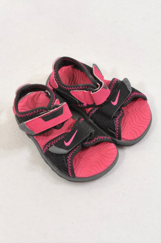 Nike Size 1.5 Black & Hot Pink Sandals Girls 3-6 months