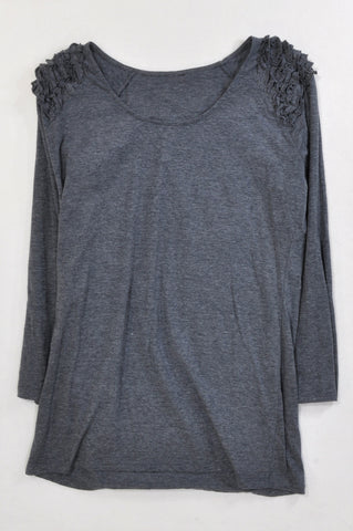 Woolworths Heathered Charcoal Ruffle Shoulder T-shirt Women Size 16