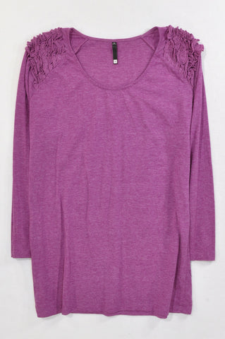 Woolworths Heathered Violet Ruffle Shoulder T-shirt Women Size 16