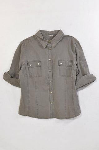 Woolworths Olive Cuffed Sleeve Utility Shirt Women Size 14