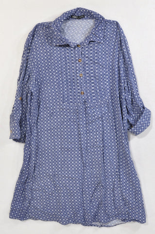 Mr. Price Blue Geometric Henley Tunic Blouse Women Size L