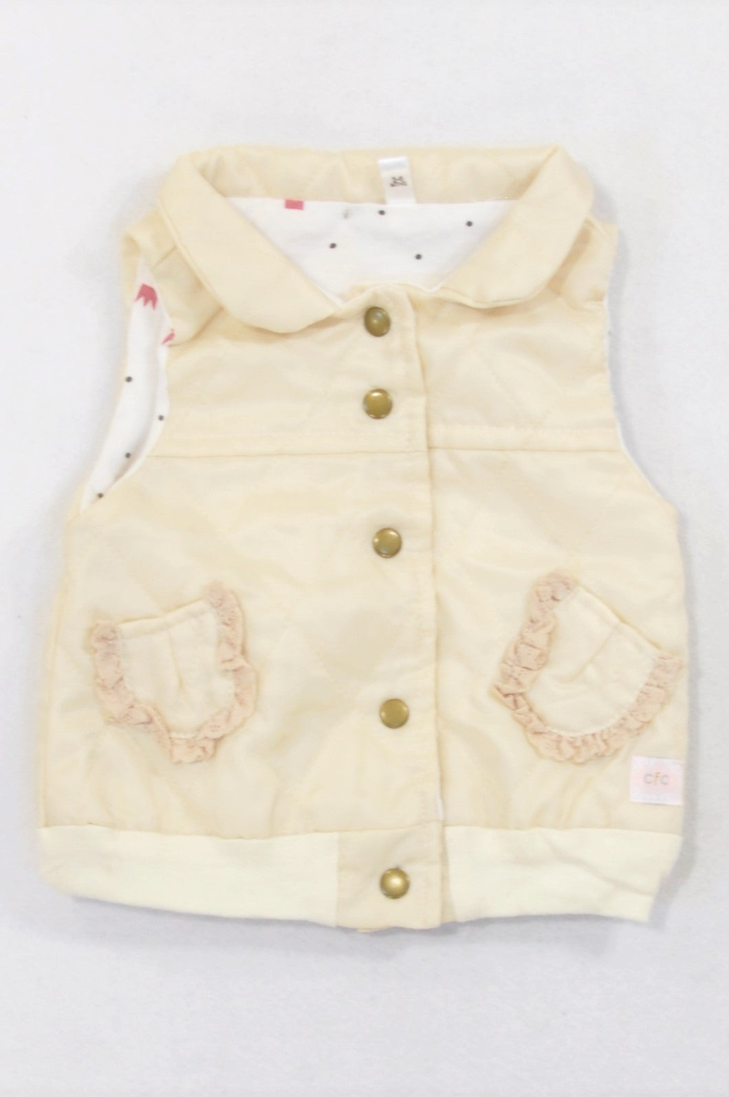 Candyfloss Clouds Ivory Quilted Snap Body Warmer Girls 3-6 months