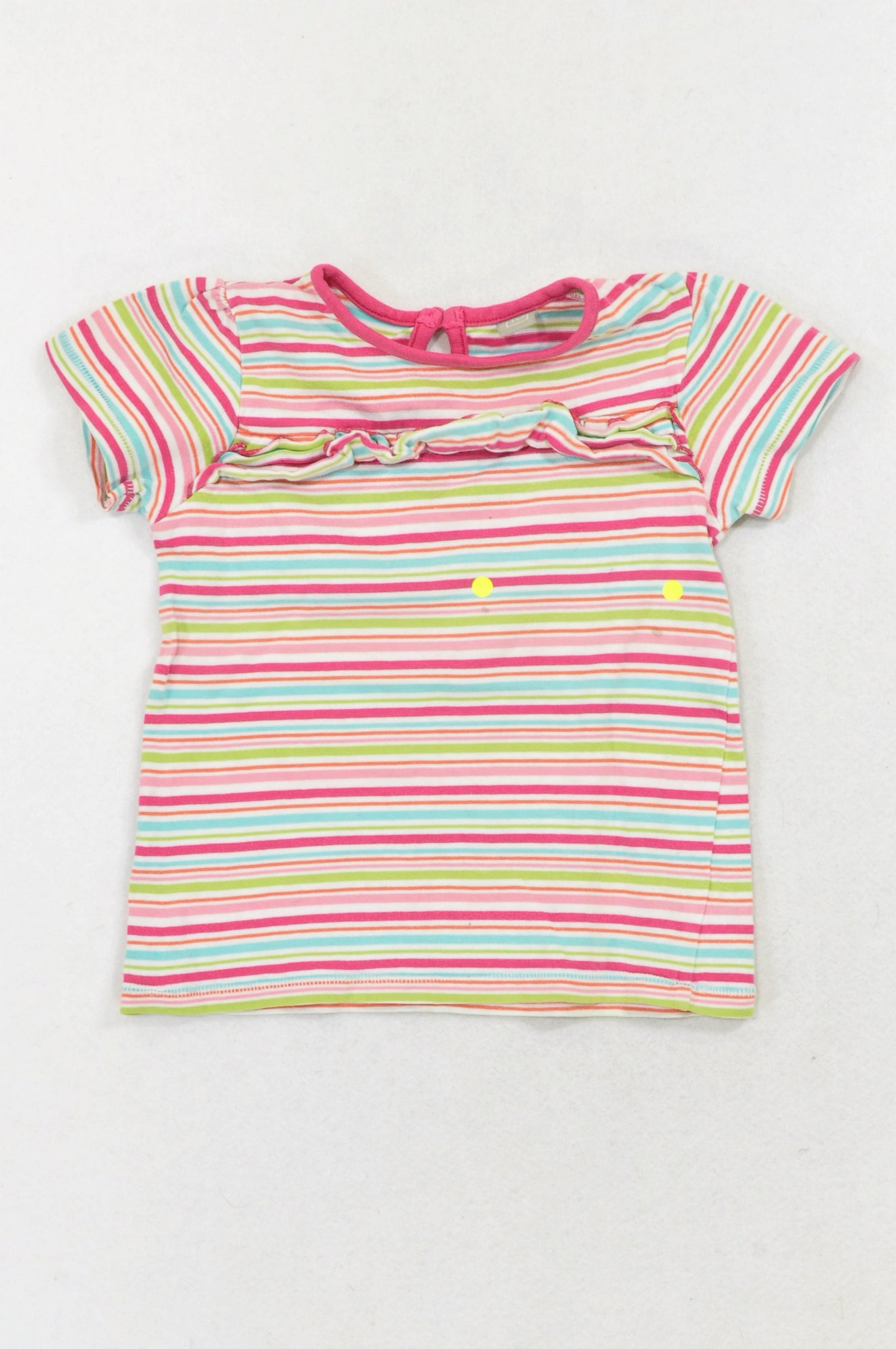 Tu Pink Stripe Frill T-shirt Girls 18-24 months