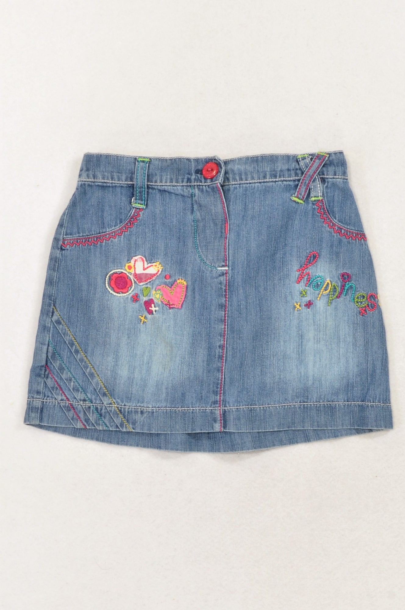 Unbranded Denim Embroidered Hearts & Happiness Skirt Girls 18-24 months
