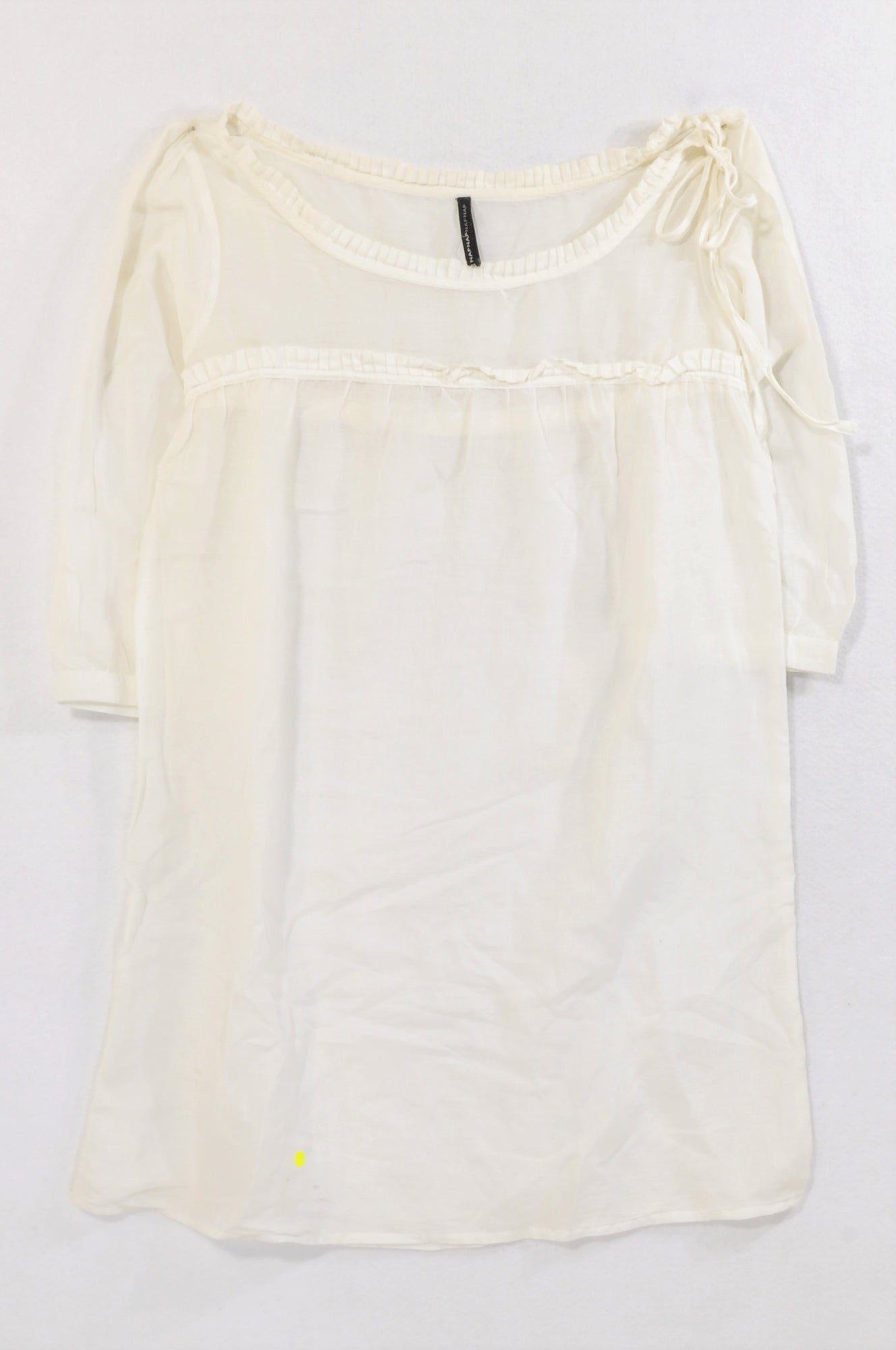Naf Naf Ivory Sheer Pleated Detail Blouse Women Size 34