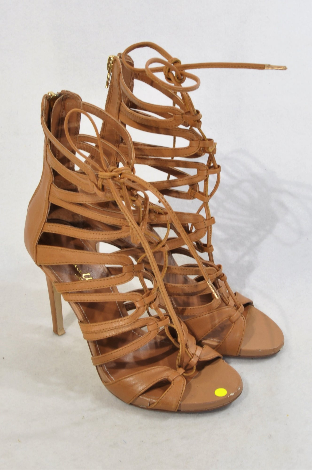 Luella Camel Strappy Stiletto Sandals Women Size 4