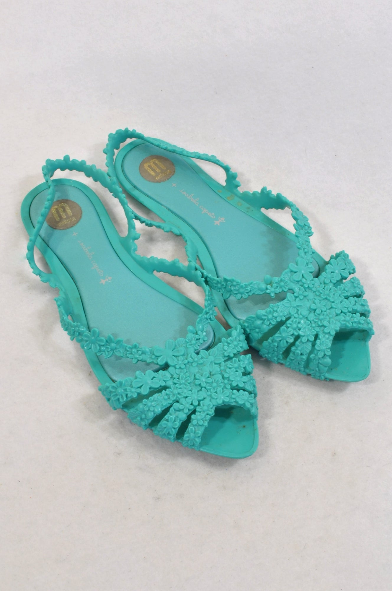 Melissa Aqua Floral Jelly Sandals Women Size 4