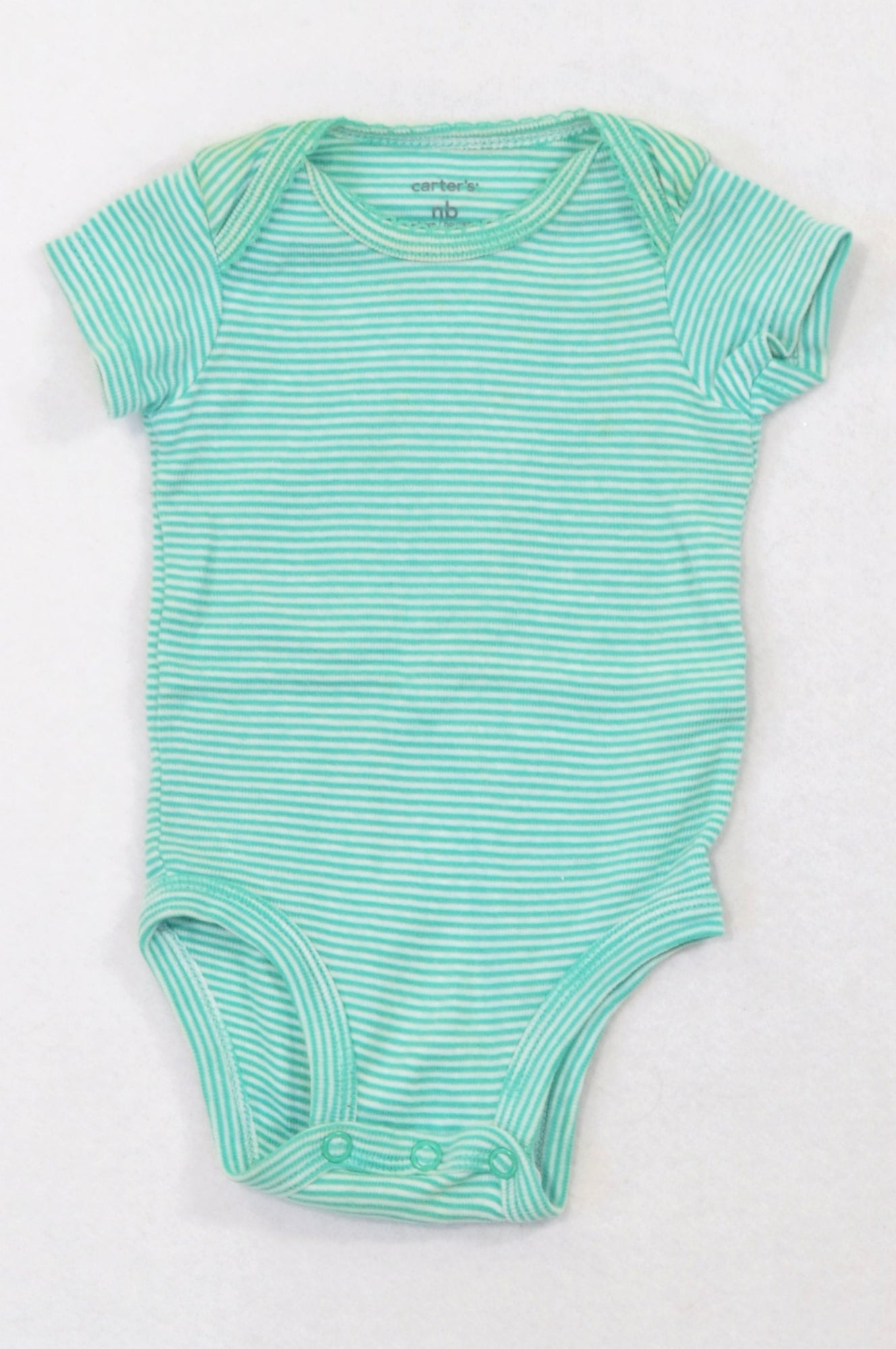 Carter's Green Thin Stripe Baby Grow Girls N-B