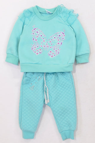 Ackermans Aqua Butterfly Frill Quilted Track Suit Girls 3-6 months