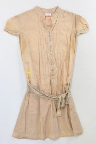 New Wave Beige Lightweight Belted Dress Women Size XS