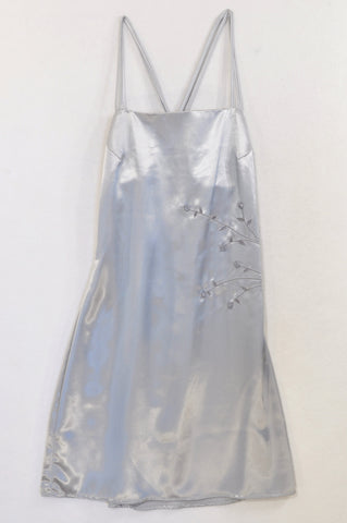 Scotts Silver Floral Detail Satin Slip Evening Dress Women Size 36