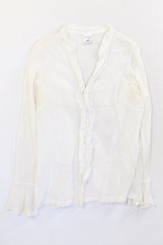 Fresh Produce White Lightweight Ruffle Trim Blouse Women Size XS