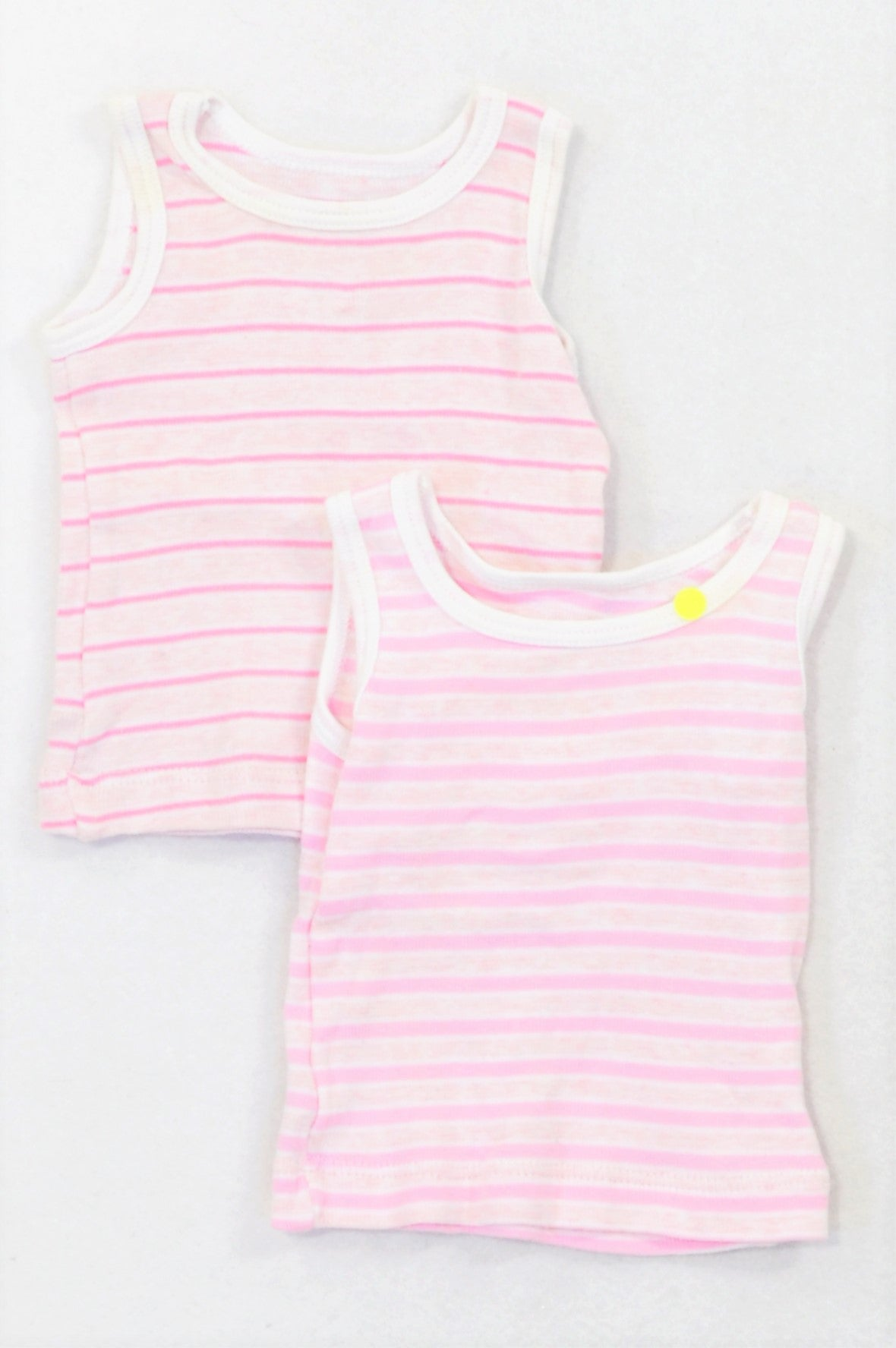 Woolworths 2 Pack Pinstripe Tank Tops Girls 0-3 months