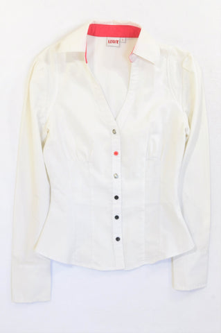 Legit Ivory Multi Button Fitted Blouse Women Size 6