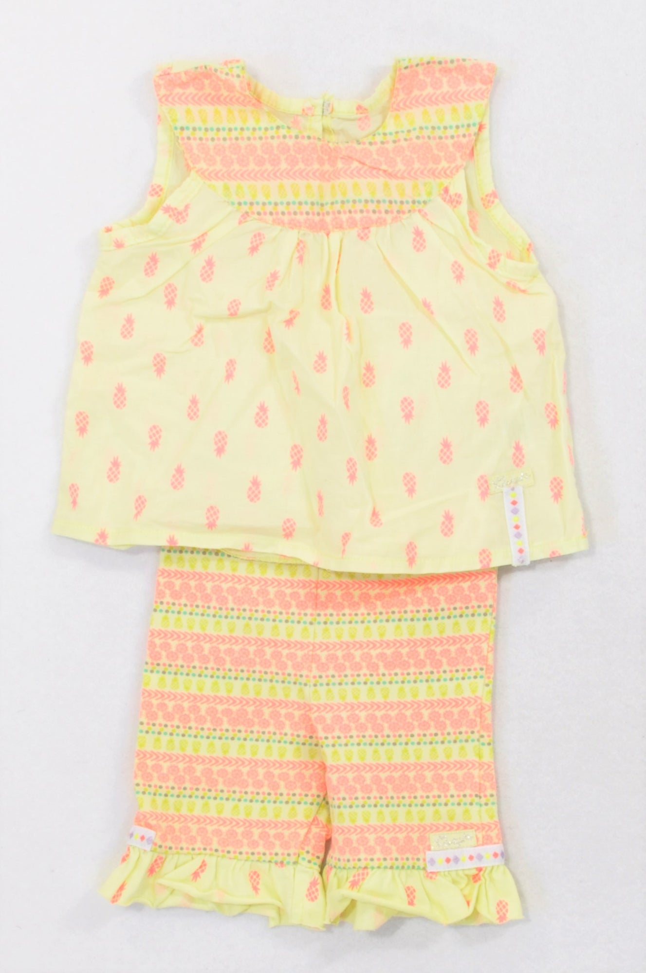 Naartjie Green Lumo Pineapple Blouse & Matching Leggings Outfit Girls 0-3 months