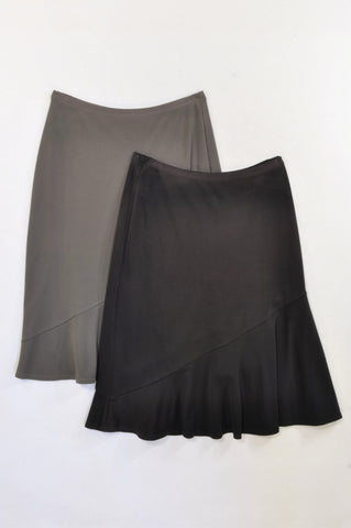 Woolworths 2 Pack Black & Olive Flowy Skirt Women Size 6