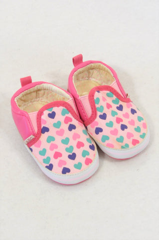 Ackermans Size 1 Pink Heart Soft Soled Shoes Girls 3-6 months