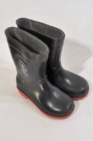 Unbranded Size 6 Black Panda Red Trim Rain Boots Unisex 18 months to 3 years