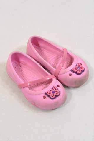 Crocs Size 6 Pink Strap Butterfly Shoes Girls 18 months to 3 years