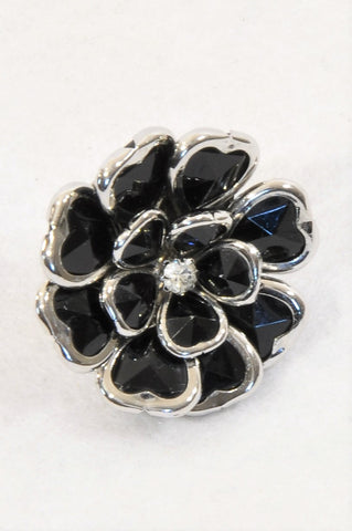 Unbranded Black & Silver Flower Ring Accessory Women One Size