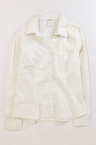H&M Basic White Fitted Shirt Women Size 12