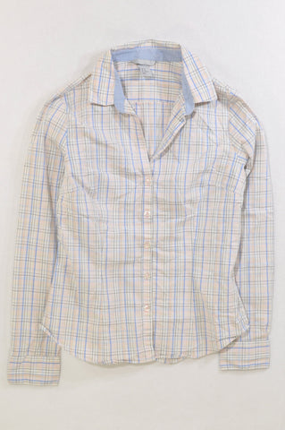 H&M Pink & Blue Plaid Fitted Shirt Women Size 12