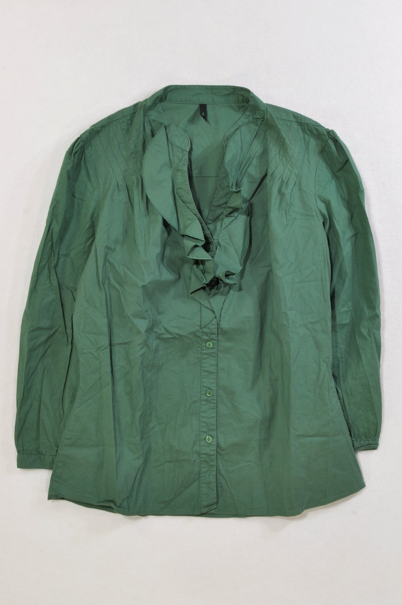 United Colours of Benetton Pine Green Ruffle Detail Three-quarter Sleeve Shirt Women Size M