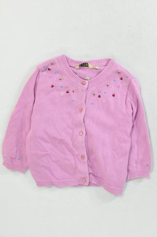 H&M Purple Embroidered Flower Cardigan Girls 2-3 years