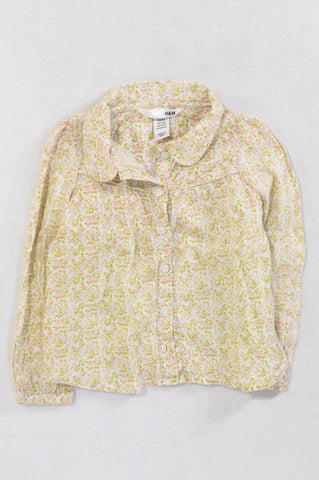 H&M Green & Pink Tiny Flower Blouse Girls 2-3 years