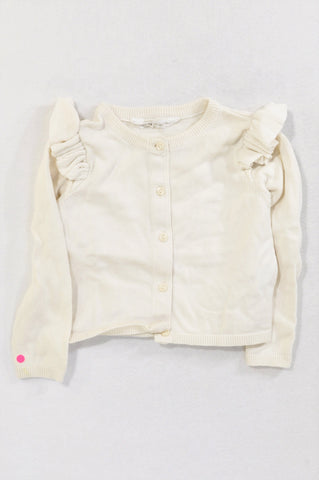 H&M Ivory Ruffle Shoulder Frill Detail Cardigan Girls 18-24 months